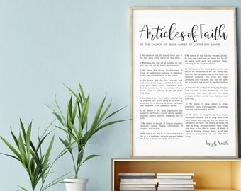 Articles of Faith Print- on Premium Paper- Simplistic Modern Uniform Text- LDS