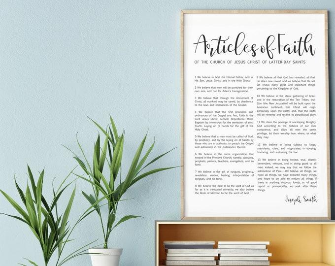 Articles of Faith Print- on Premium Paper- Simplistic Modern Uniform Text- LDS