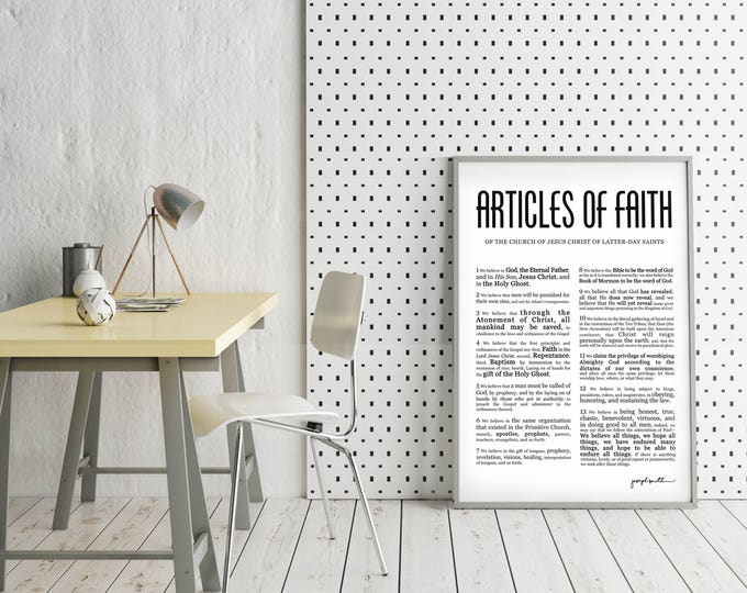 Articles of Faith- Masculine Modern Title- LDS- Various Sizes