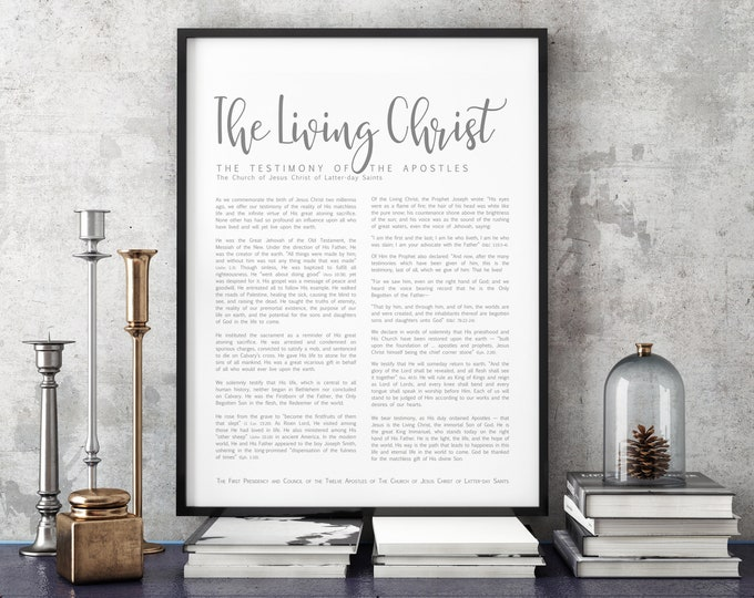 The Living Christ Print- on Premium Paper- Simplistic Modern Uniform Text- LDS