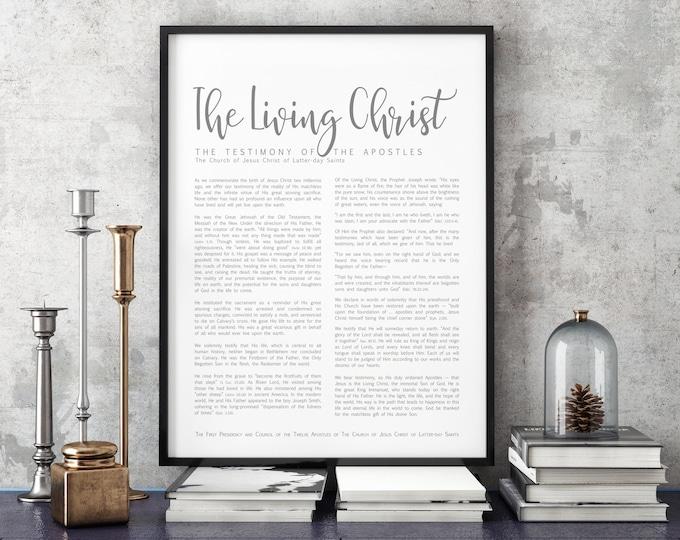 The Living Christ Print- on Premium Paper- Simplistic Modern Uniform Text- LDS