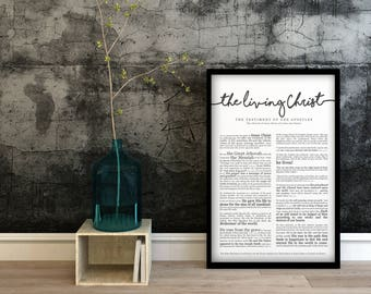 The Living Christ Print- on Premium Paper- Cursive Title- LDS