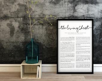 The Living Christ Print- on Premium Paper- Cursive Title- LDS