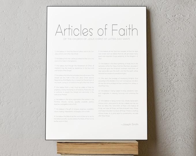 Articles of Faith Print- High Quality Print- Minimalist Design