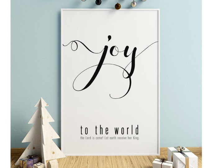 Joy to the World- Modern Christmas Decor Print