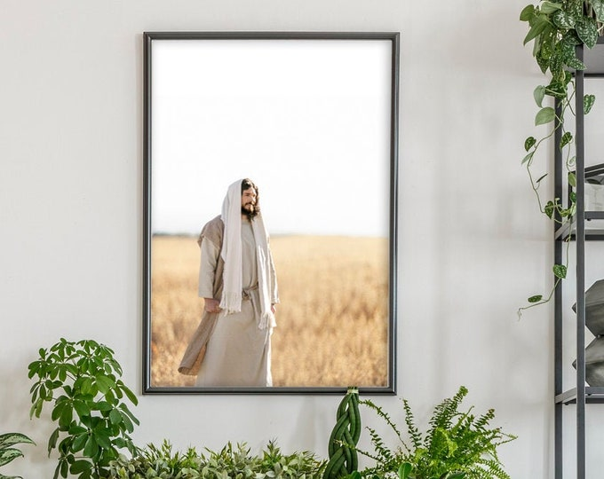 Jesus Christ in Field- Modern Christian Vertical Print, Color