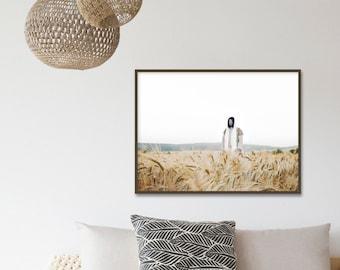 Jesus Christ in Wheat Field- Modern Christian Print, Color