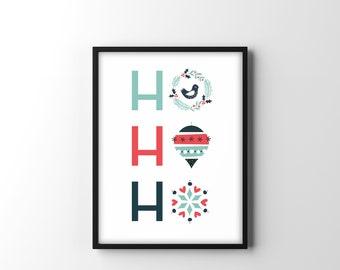 Ho Ho Ho- Scandinavian Style Christmas Print