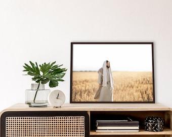 Jesus Christ in Field- Modern Christian Print, Color