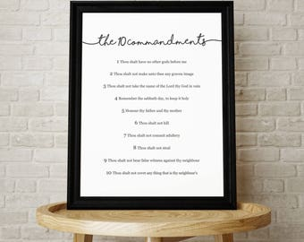 The 10 Commandments- Christian Home Decor Print