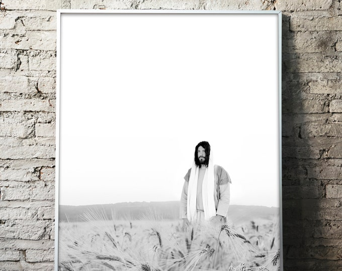 Jesus Christ in Wheat Field- Modern Christian Print, Black White Photo