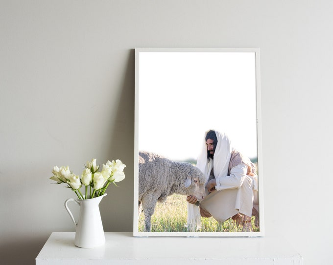 Jesus Christ Feeding His Sheep- Modern Christian Vertical Print, Color
