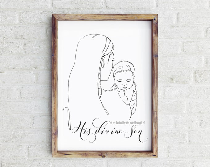 Nativity Line Drawing Christmas Print- Mary & Christ child