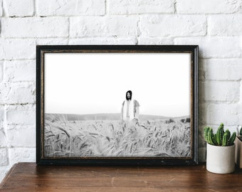 Jesus Christ in Wheat Field- Modern Christian Print, Black White Photo