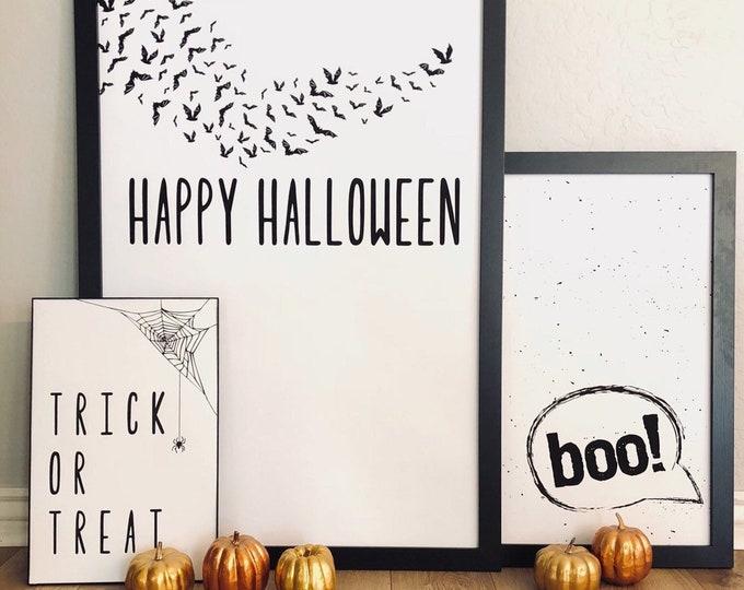 Happy Halloween Bats- Modern Premium Print