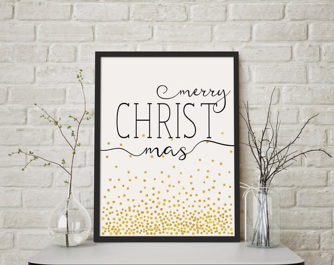 merry CHRISTmas- Modern Christmas Decor Print