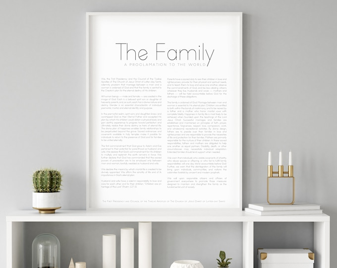 Family Proclamation Print- High Quality Print- Minimalist Design