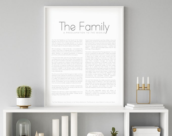 Family Proclamation Print- High Quality Print- Minimalist Design
