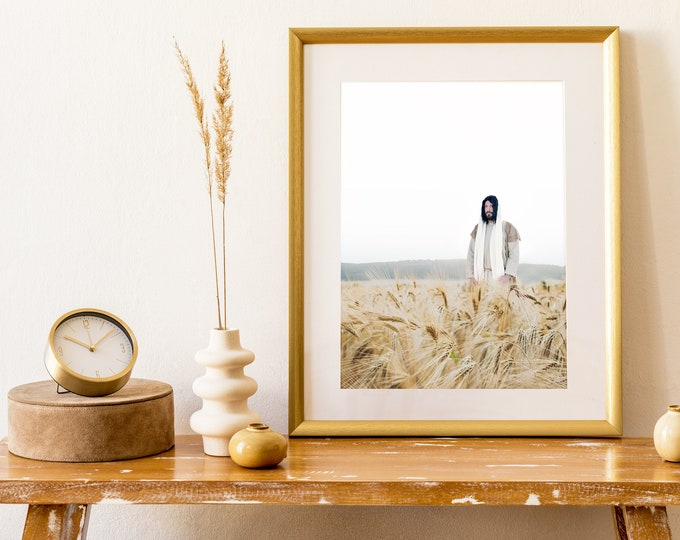 Jesus Christ in Wheat Field- Modern Christian Vertical Print, Color