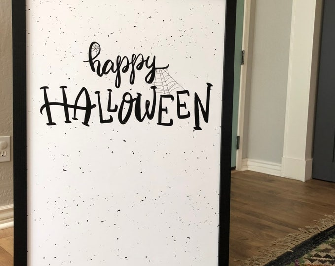 Modern Happy Halloween Decor Webs- Premium Print