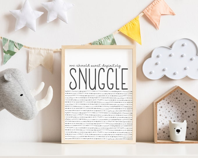 Snuggle- Modern Nursery Art, Black and White