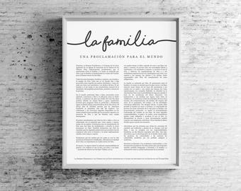 Spanish Family Proclamation Print- LDS- Espanol La Familia- Uniform