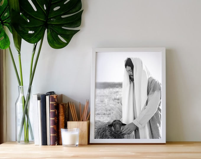 Jesus Comforting Black Sheep- Gorgeous Modern Print, Black & White