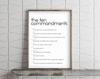 The 10 Commandments- Modern Font, Christian Home Decor Print