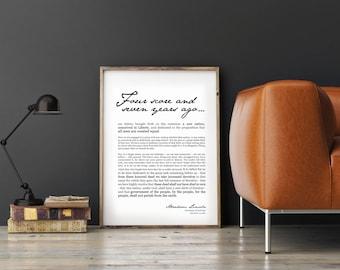 Gettysburg Address- Patriotic Print USA