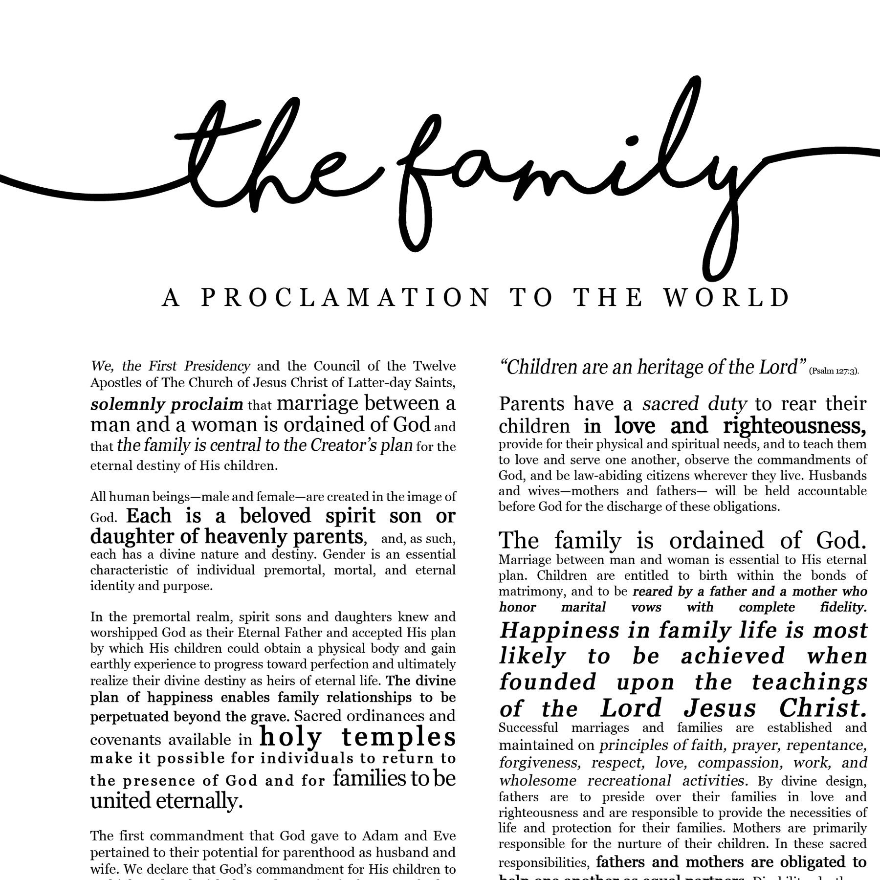 graphic relating to The Family a Proclamation to the World Free Printable called Relatives Proclamation Print- upon Quality Paper- LDS