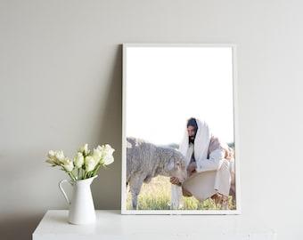 Jesus Christ Feeding His Sheep- Modern Christian Vertical Print, Color