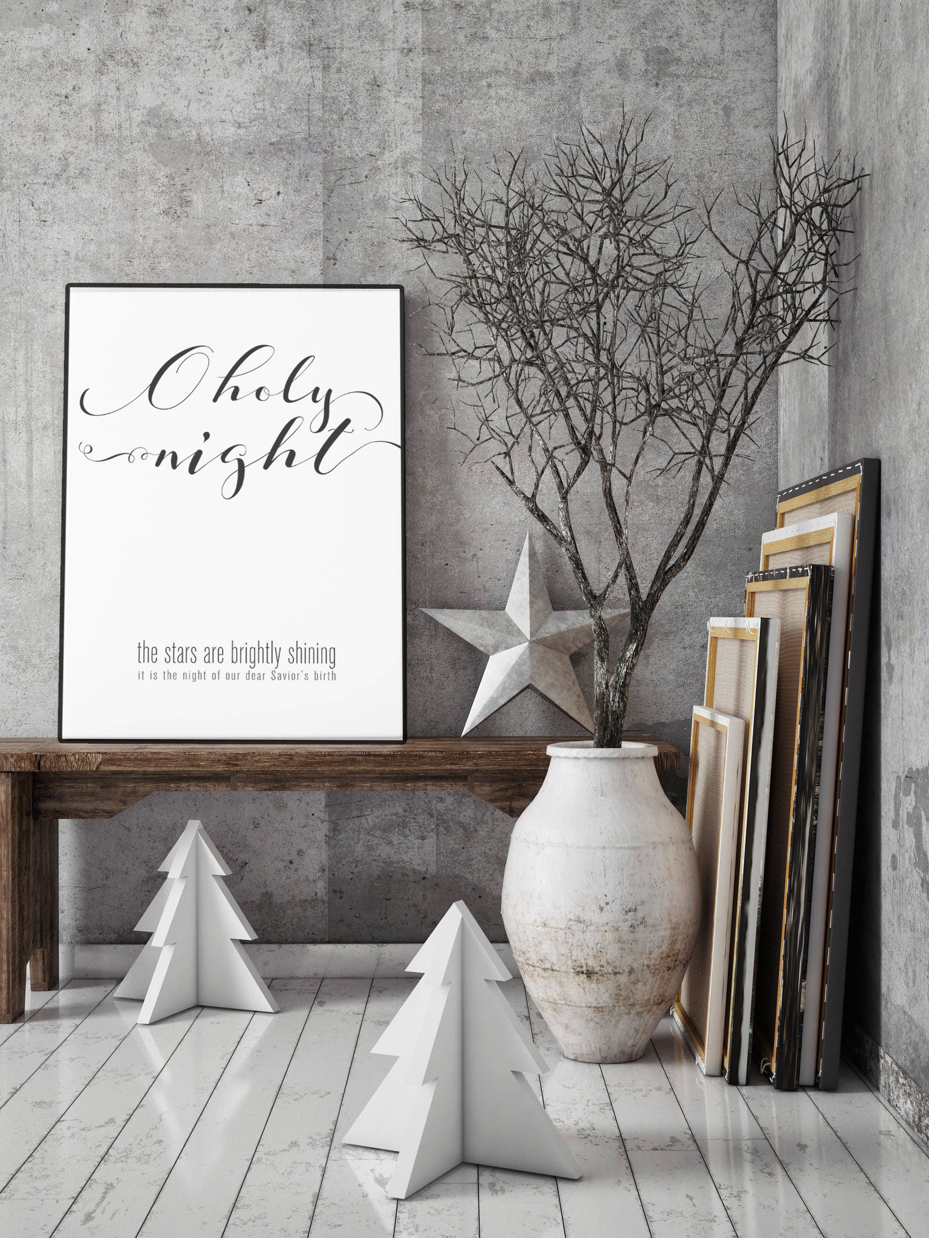 o holy night modern christmas decor print