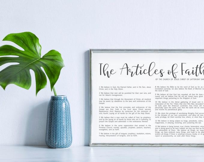 Landscape Articles of Faith- Simplistic Modern Uniform Text- on Premium Paper