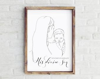 Nativity Line Drawing Christmas Print- Mary & Christ child