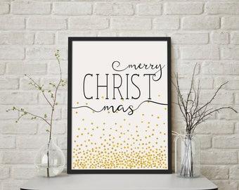 merry CHRISTmas- Modern Christmas Decor Print