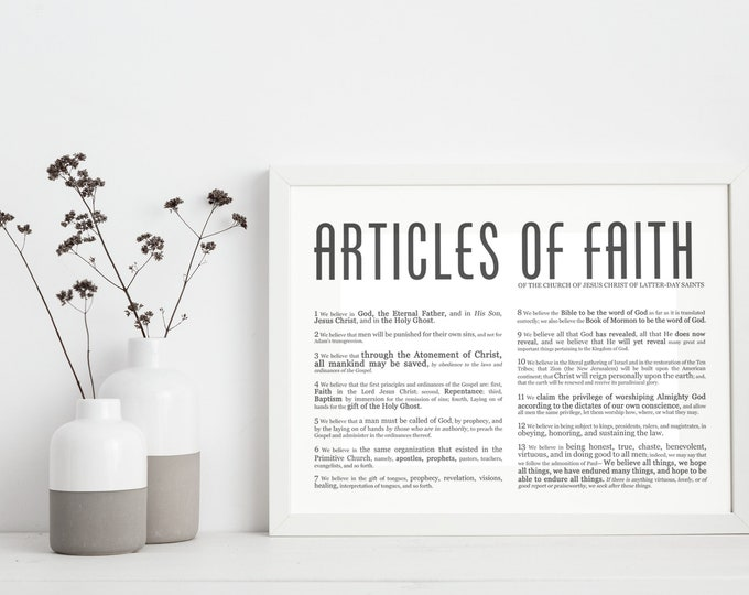 Horizontal Articles of Faith- Masculine Modern Title- Restored Church of Jesus Christ