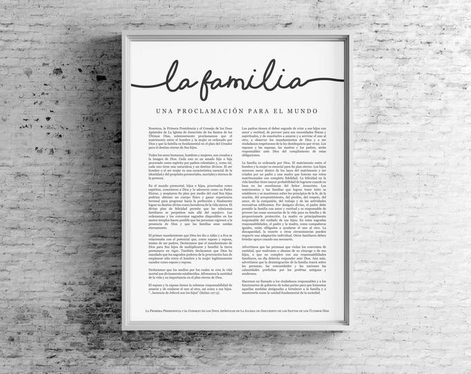 Spanish Family Proclamation Print- LDS- Espanol La Familia- Uniform