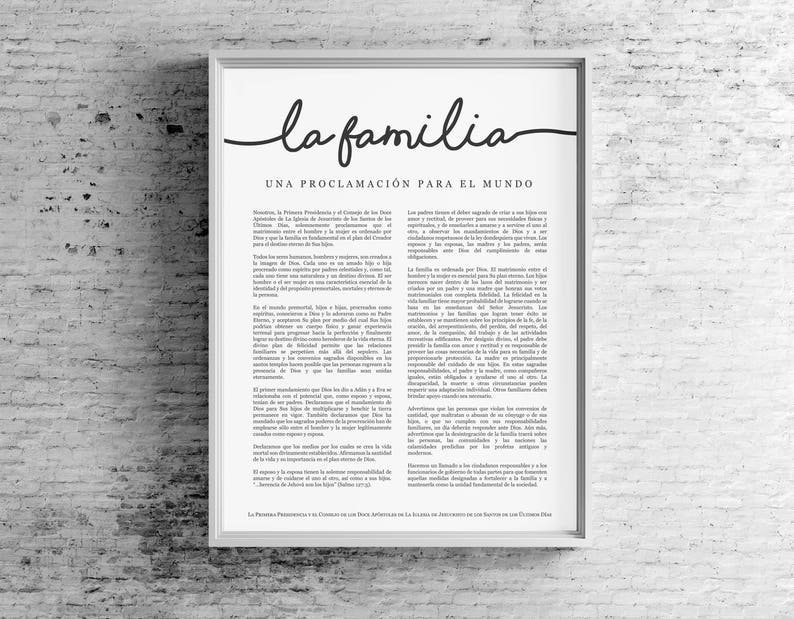 graphic regarding Printable Job Application in Spanish named Spanish Relatives Proclamation Print- LDS- Espanol La Familia