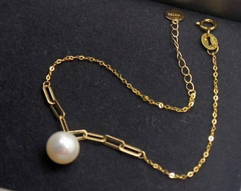 75/% gold chain Japanese Akoya white round pearls top graded luster Au750 stamped Genuine 18K gold solid beads bracelet pink luster