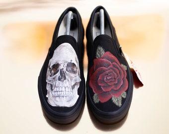46b0c8a6aa0b Skull and Rose Custom Vans
