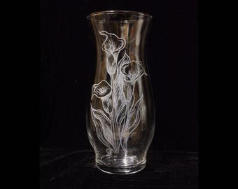 Calla Lily Etched Vase