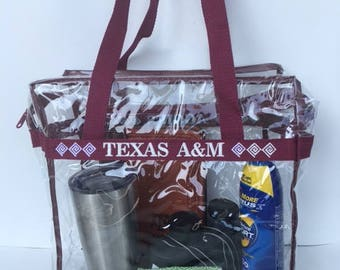 Texas A&M Clear Stadium Bag Embroidered with SouthWestern Pattern