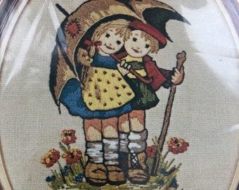 Vintage STRAWFLOWERS Paragon Crewel Embroidery Kit 70s groovy Stitchery Craft