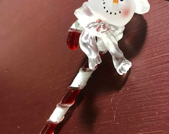 SUMMERSALE Vintage, Snowman on a Candy Cane, Christmas, Ornament