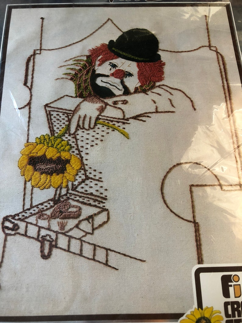 A Touch of Tara Tearful Clown 11 by 14 inches Vintage 1977 Crewel Embroidery Kit