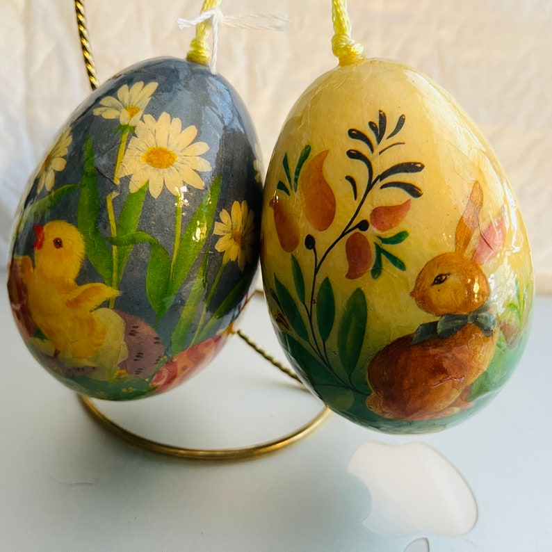 Egg Shaped EasterSpring Ornaments 4 By 2.5 Inches Pair Of 2 Bunny and Chick Large