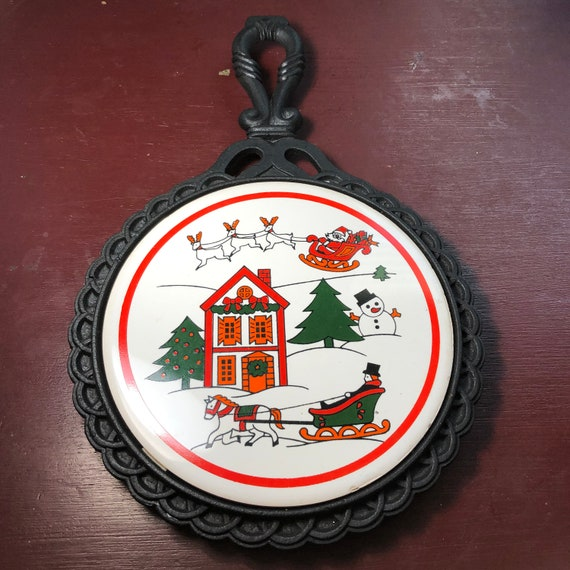 Christmas Joy Cast.The Joy Of Christmas Vintage 1987 Cast Iron Trivet With Ceramic Tile Action Industries