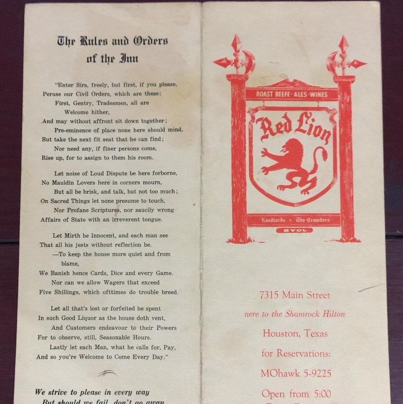 Texas Red Lion Houston Vintage Collectible Menu