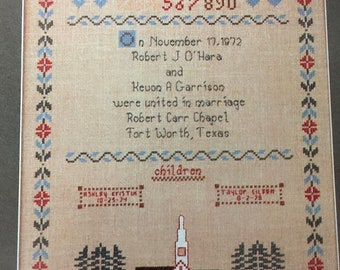 """SUMMERSALE Schoolhouse Designs """"From This Day Forward"""" hard to find cross stitch pattern"""
