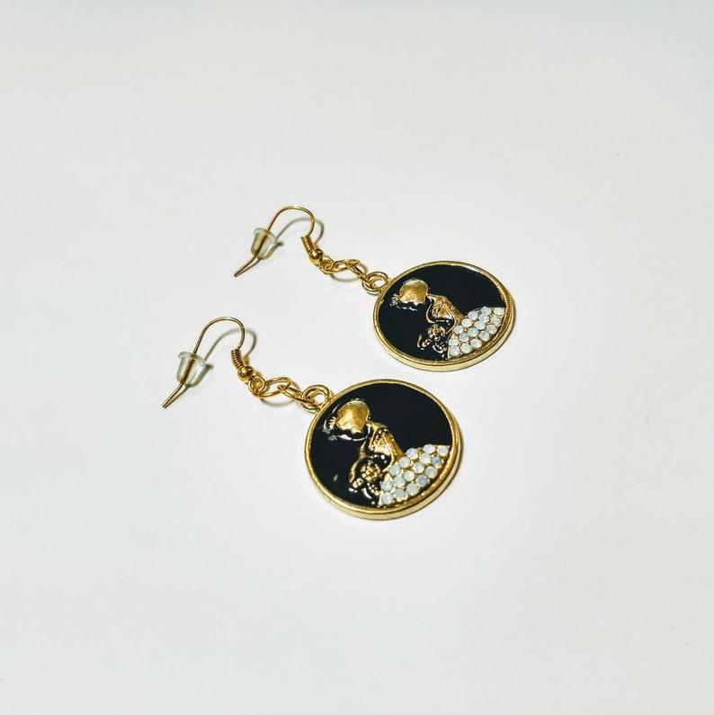 Gold tone bride earrings enamel black and gold wedding jewelry SALE